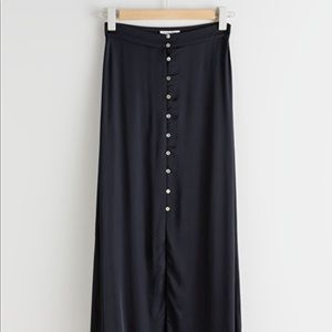 & Other Stories Navy Midi Button Up Skirt